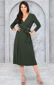 SARITA - Womens V-Neck 3/4 Sleeve Knee Length Waist Tie Midi Dress - Olive Green / Small