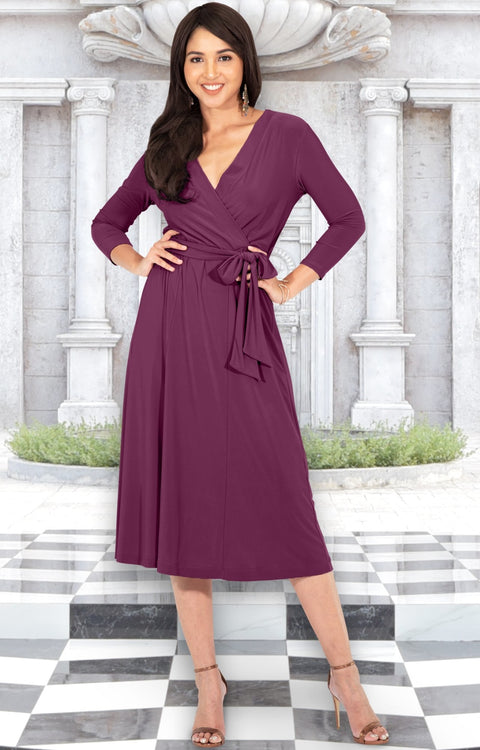 SARITA - Womens V-Neck 3/4 Sleeve Knee Length Waist Tie Midi Dress - Plum Dark Purple / Small
