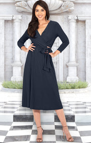 SARITA - Womens V-Neck 3/4 Sleeve Knee Length Waist Tie Midi Dress - Slate Gray Grey / Small