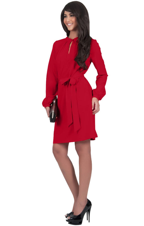 SCARLETT - Long Sleeve Knee Length Dress with Belt