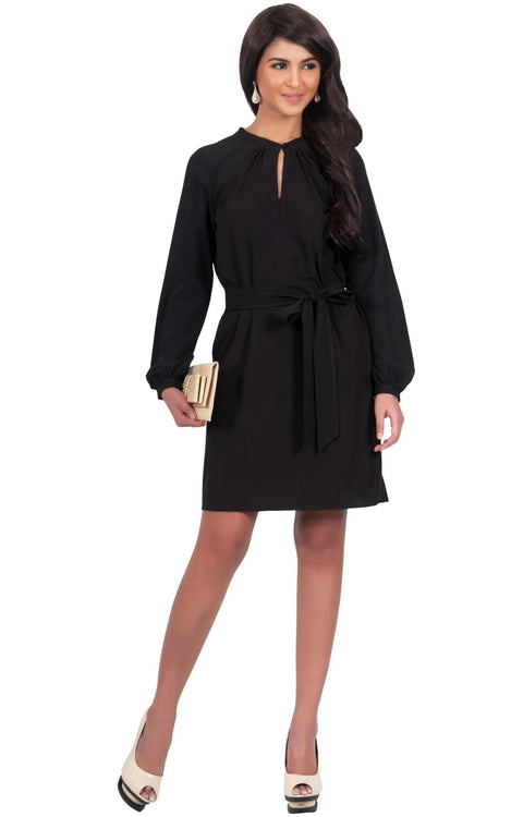SCARLETT - Long Sleeve Knee Length Dress with Belt - Black / 2X Large