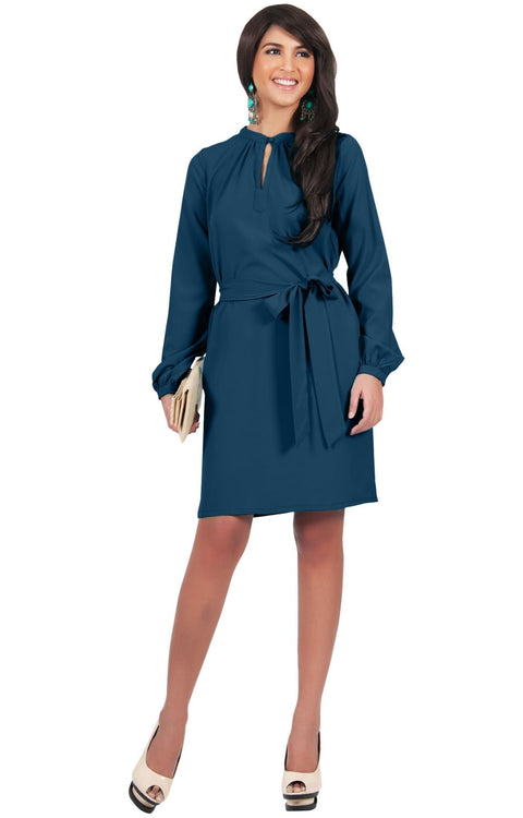 SCARLETT - Long Sleeve Knee Length Dress with Belt - Blue Teal / 2X Large
