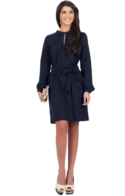 SCARLETT - Long Sleeve Knee Length Dress with Belt - Dark Navy Blue / 2X Large