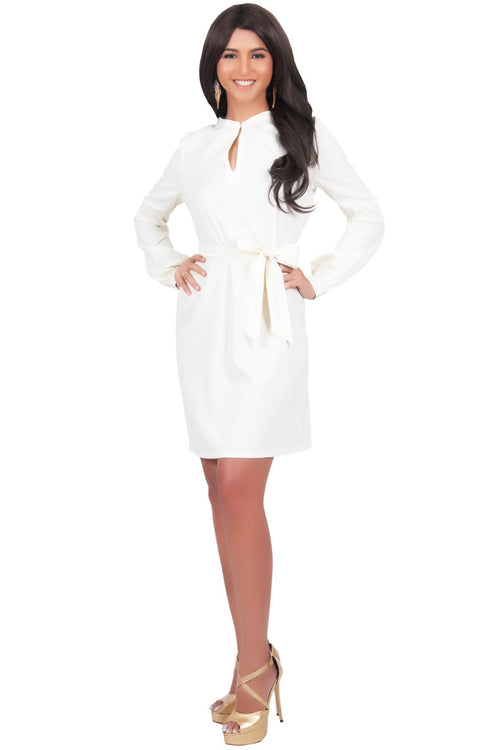 SCARLETT - Long Sleeve Knee Length Dress with Belt - Ivory White / 2X Large