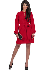 SCARLETT - Long Sleeve Knee Length Dress with Belt - Red / 2X Large