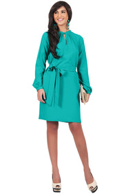 SCARLETT - Long Sleeve Knee Length Dress with Belt - Turquoise / 2X Large