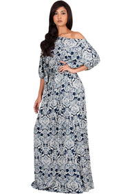 SHARON - Short Sleeve Print One Shoulder Flowy Casual Maxi Dress