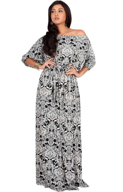 SHARON - Short Sleeve Print One Shoulder Flowy Casual Maxi Dress - Black & White / 2X Large
