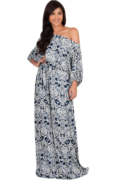 SHARON - Short Sleeve Print One Shoulder Flowy Casual Maxi Dress - Navy Blue & White / 2X Large