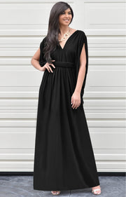 SHELBY - Sleeveless Long Comfortable Maxi Dress Vacation Evening Sun - Black / 2X Large