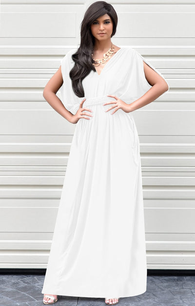 SHELBY - Sleeveless Long Comfortable Maxi Dress Vacation Evening Sun - Ivory White / 2X Large