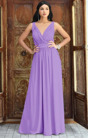 SHIROI - Elegant Flowy Bridesmaid Cocktail Evening Maxi Dress Gown - Lilac Light Purple / 2X Large