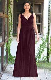 SHIROI - Elegant Flowy Bridesmaid Cocktail Evening Maxi Dress Gown - Maroon Wine Red / 2X Large