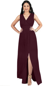 SIA - Long Bridesmaid Sleeveless Sexy Slit Sundress Maxi Dress Gown