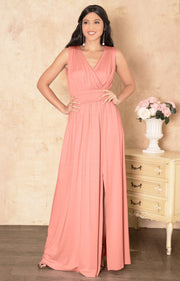 SIA - Long Bridesmaid Sleeveless Sexy Slit Sundress Maxi Dress Gown - Light Pink Peach / 2X Large