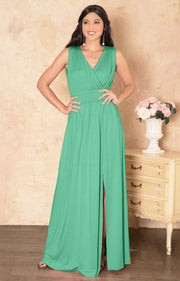SIA - Long Bridesmaid Sleeveless Sexy Slit Sundress Maxi Dress Gown - Light Emerald Green / Small