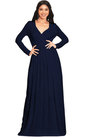 SKYLAR - Long Sleeve Empire Waist Modest Fall Flowy Maxi Dress Gown - Dark Navy Blue / 2X Large