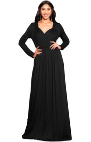 SKYLAR - Long Sleeve Empire Waist Modest Fall Flowy Maxi Dress Gown - Black / 2X Large