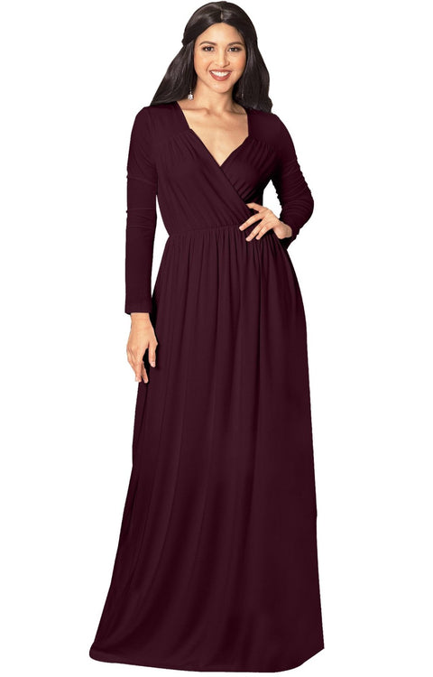 SKYLAR - Long Sleeve Empire Waist Modest Fall Flowy Maxi Dress Gown - Maroon Wine Red / Medium