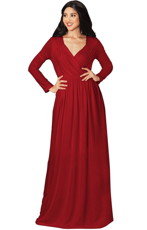SKYLAR - Long Sleeve Empire Waist Modest Fall Flowy Maxi Dress Gown - Crimson Dark Red / Medium