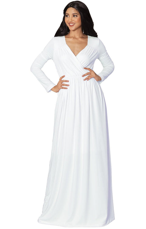 SKYLAR - Long Sleeve Empire Waist Modest Fall Flowy Maxi Dress Gown - White / Medium