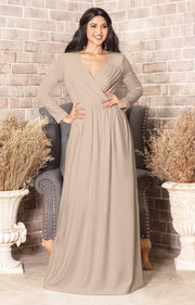 SKYLAR - Long Sleeve Empire Waist Modest Fall Flowy Maxi Dress Gown - Nude Champagne Brown / Small