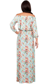 TABITHA - Off Shoulder Floral 3/4 Sleeve Summer Cocktail Maxi Dress