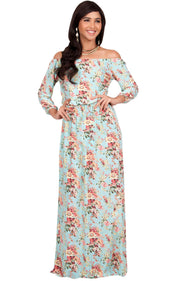TABITHA - Off Shoulder Floral 3/4 Sleeve Summer Cocktail Maxi Dress - Light Blue & Yellow / 2X Large
