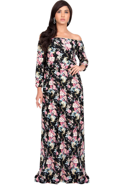TABITHA - Off Shoulder Floral 3/4 Sleeve Summer Cocktail Maxi Dress - Pink & Black / 2X Large