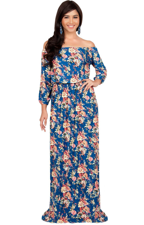 TABITHA - Off Shoulder Floral 3/4 Sleeve Summer Cocktail Maxi Dress - Royal Blue & Yellow / 2X Large