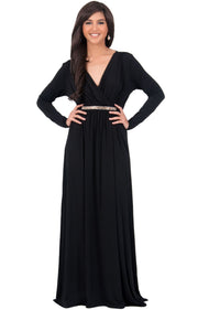 TIFFANY - Long Sleeve Kaftan Fall Flowy V-Neck Maxi Dress Gown Abaya