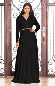TIFFANY - Long Sleeve Kaftan Fall Flowy V-Neck Maxi Dress Gown Abaya - Black / 2X Large