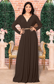 TIFFANY - Long Sleeve Kaftan Fall Flowy V-Neck Maxi Dress Gown Abaya - Dark Brown / 2X Large