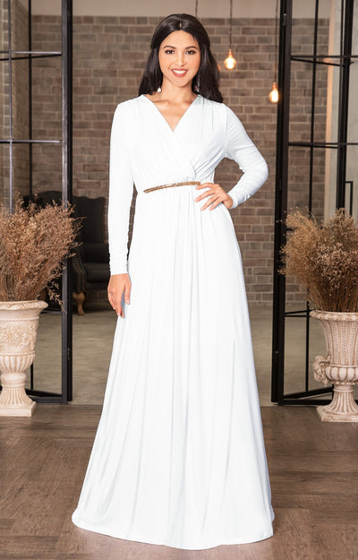 TIFFANY - Long Sleeve Kaftan Fall Flowy V-Neck Maxi Dress Gown Abaya - Ivory White / 2X Large