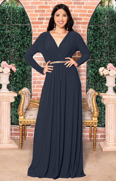 TIFFANY - Long Sleeve Kaftan Fall Flowy V-Neck Maxi Dress Gown Abaya - Slate Gray Grey / 2X Large