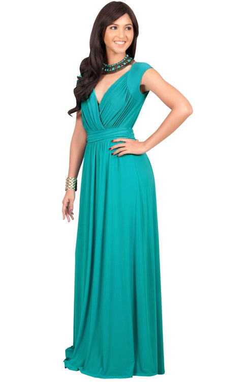 VALERIE - Bridesmaid Cap Sleeve Cocktail Wedding Gown Long Maxi Dress