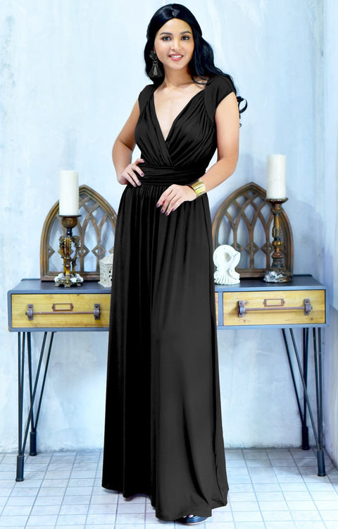 VALERIE - Bridesmaid Cap Sleeve Cocktail Wedding Gown Long Maxi Dress - Black / 2X Large