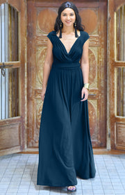VALERIE - Bridesmaid Cap Sleeve Cocktail Wedding Gown Long Maxi Dress - Blue Teal / 2X Large
