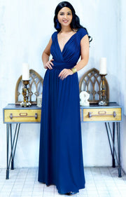 VALERIE - Bridesmaid Cap Sleeve Cocktail Wedding Gown Long Maxi Dress - Cobalt / Royal Blue / 2X Large