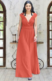 VALERIE - Bridesmaid Cap Sleeve Cocktail Wedding Gown Long Maxi Dress - Coral / Pink Peach / 2X Large