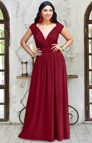VALERIE - Bridesmaid Cap Sleeve Cocktail Wedding Gown Long Maxi Dress - Crimson Dark Red / 2X Large