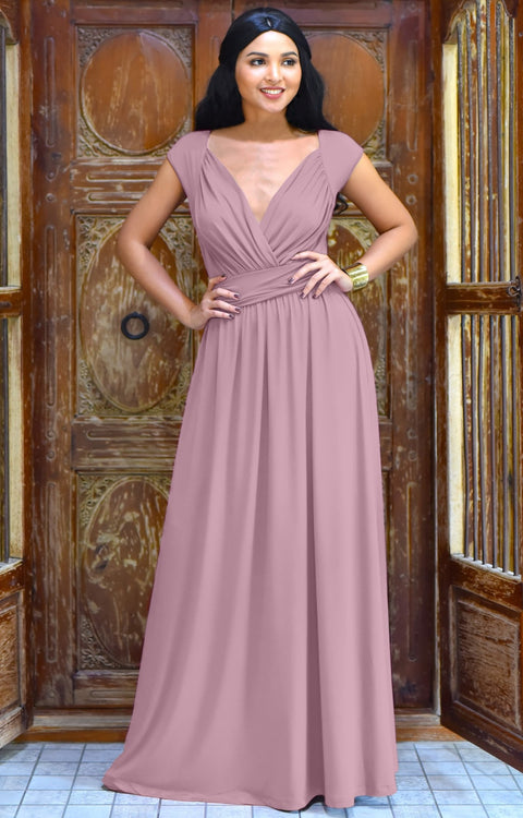 VALERIE - Bridesmaid Cap Sleeve Cocktail Wedding Gown Long Maxi Dress - Dusty Pink / Extra Small