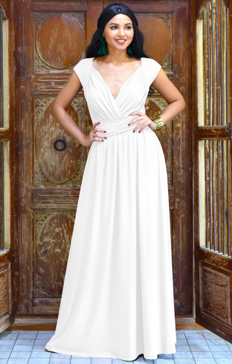 VALERIE - Bridesmaid Cap Sleeve Cocktail Wedding Gown Long Maxi Dress - Ivory White / 2X Large