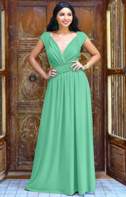 VALERIE - Bridesmaid Cap Sleeve Cocktail Wedding Gown Long Maxi Dress - Light Emerald Green / Small