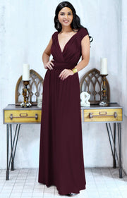 VALERIE - Bridesmaid Cap Sleeve Cocktail Wedding Gown Long Maxi Dress - Maroon Wine Red / 2X Large