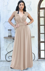VALERIE - Bridesmaid Cap Sleeve Cocktail Wedding Gown Long Maxi Dress - Tan Light Brown / 2X Large