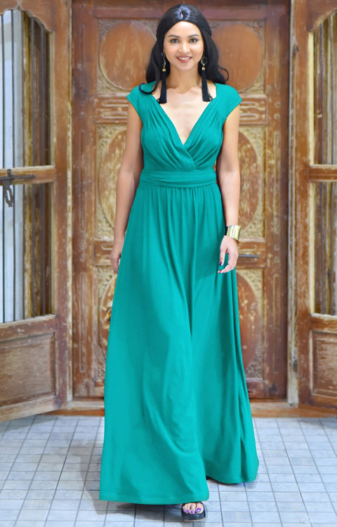 VALERIE - Bridesmaid Cap Sleeve Cocktail Wedding Gown Long Maxi Dress - Turquoise / 2X Large