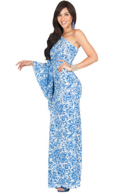 YELENA - One Shoulder Cape Print Sexy Maxi Dress