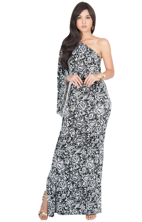 YELENA - One Shoulder Cape Print Sexy Maxi Dress - Black / 2X Large