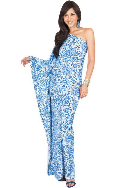 YELENA - One Shoulder Cape Print Sexy Maxi Dress - Cobalt Royal Blue / Extra Small